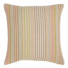 Ana Aqua Ticking Woven Cotton Decorative Pillow