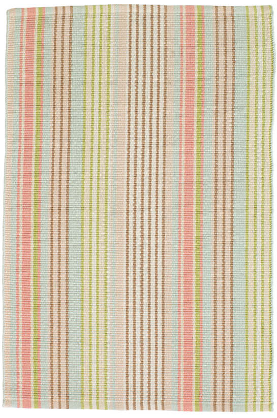 Ana Aqua Ticking Woven Cotton Rug