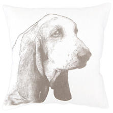Basset White Decorative Pillow