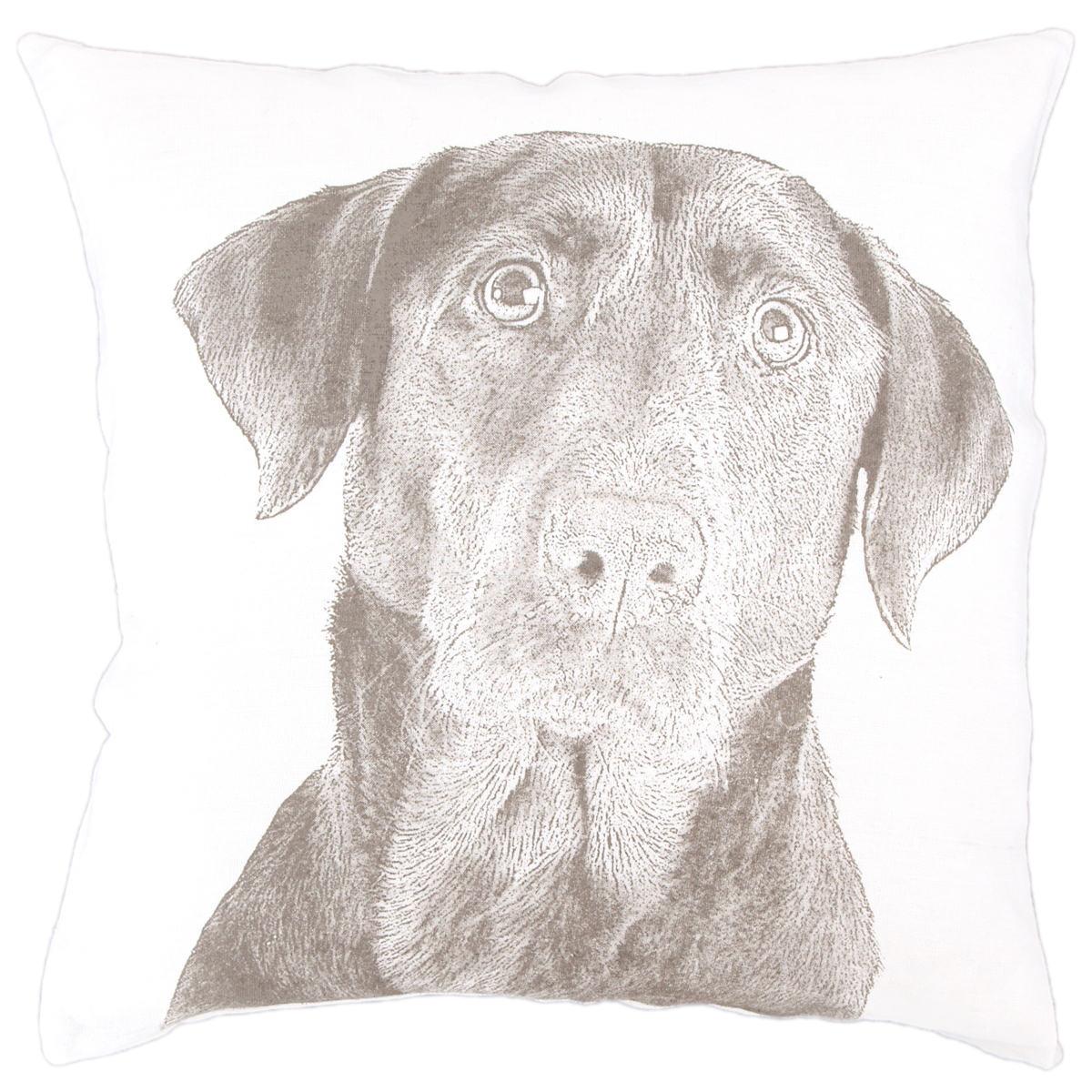 Black Lab White Decorative Pillow