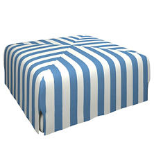Alex French Blue Blake Mitered Slipcovered Ottoman