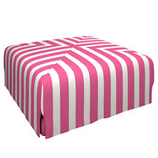 Alex Fuchsia Blake Mitered Slipcovered Ottoman