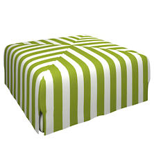 Alex Green Blake Mitered Slipcovered Ottoman