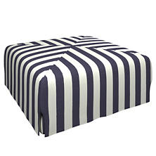 Alex Indigo Blake Mitered Slipcovered Ottoman