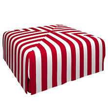 Alex Red Blake Mitered Slipcovered Ottoman