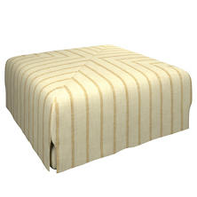 Glendale Stripe Gold/Natural Blake Mitered Slipcovered Ottoman