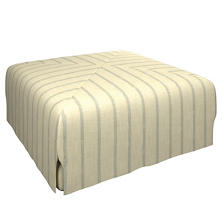 Glendale Stripe Light Blue/Natural Blake Mitered Slipcovered Ottoman
