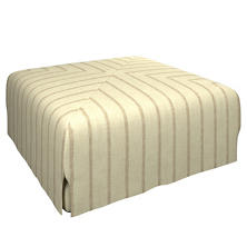 Glendale Stripe Natural/Grey Blake Mitered Slipcovered Ottoman