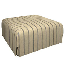 Glendale Stripe Navy/Brown Blake Mitered Slipcovered Ottoman