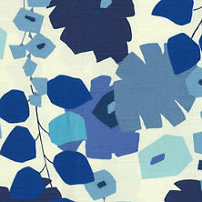 Block Floral Blue Fabric
