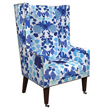 Block Floral Linen Blue Neo-Wing Chair