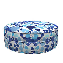 Block Floral Blue Palm Court Ottoman