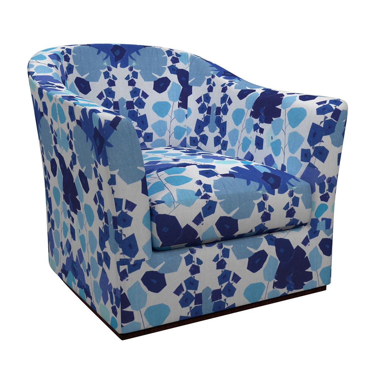 Block Floral Linen Blue Thunderbird Swivel Chair