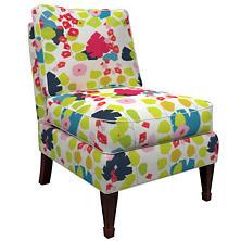 Block Floral Linen Bright Eldorado Chair