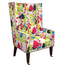 Block Floral Linen Bright Neo-Wing Chair