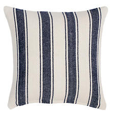Blue Awning Stripe Woven Cotton Decorative Pillow