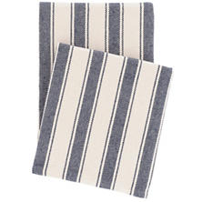 Blue Awning Stripe Woven Cotton Throw