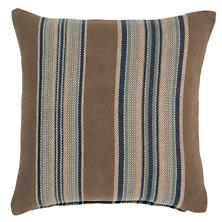 Blue Heron Stripe Woven Cotton Decorative Pillow