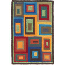 Box In Box Wool Hooked Rug
