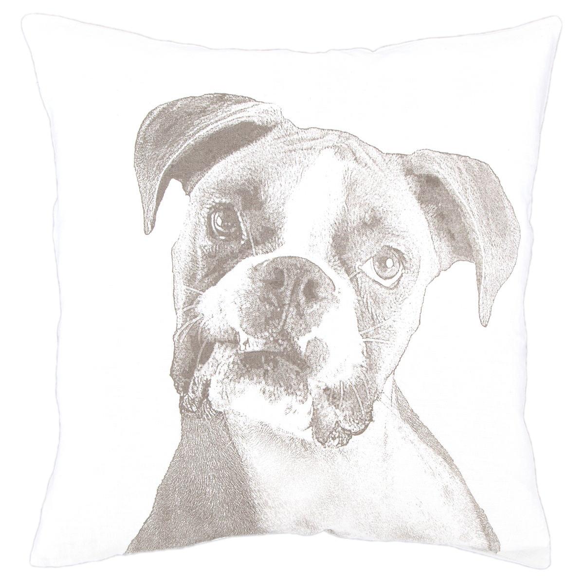 Boxer White Decorative Pillow