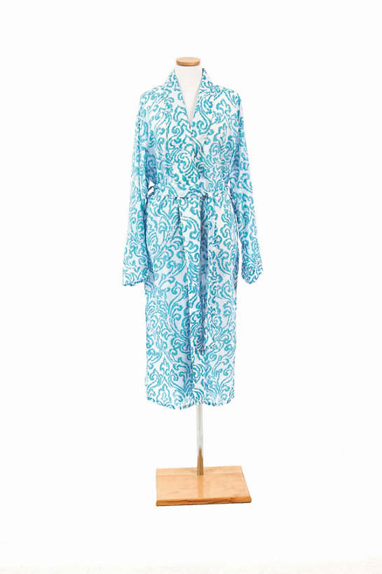 Brushstroke Damask Aqua Robe
