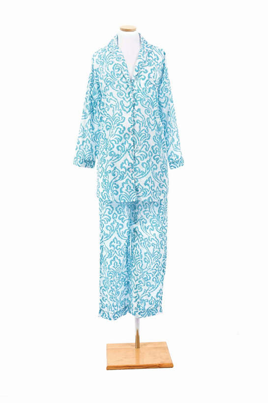 Brushstroke Damask Aqua Shirt Tail Pajama