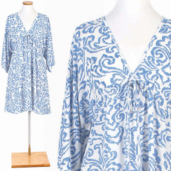 Brushstroke Damask French Blue Nightdress