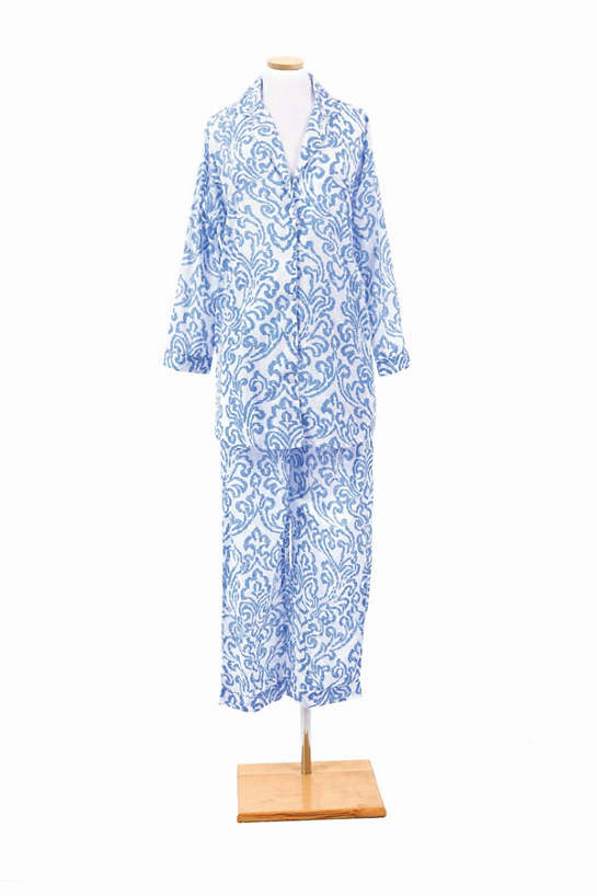 Brushstroke Damask French Blue Shirt Tail Pajama