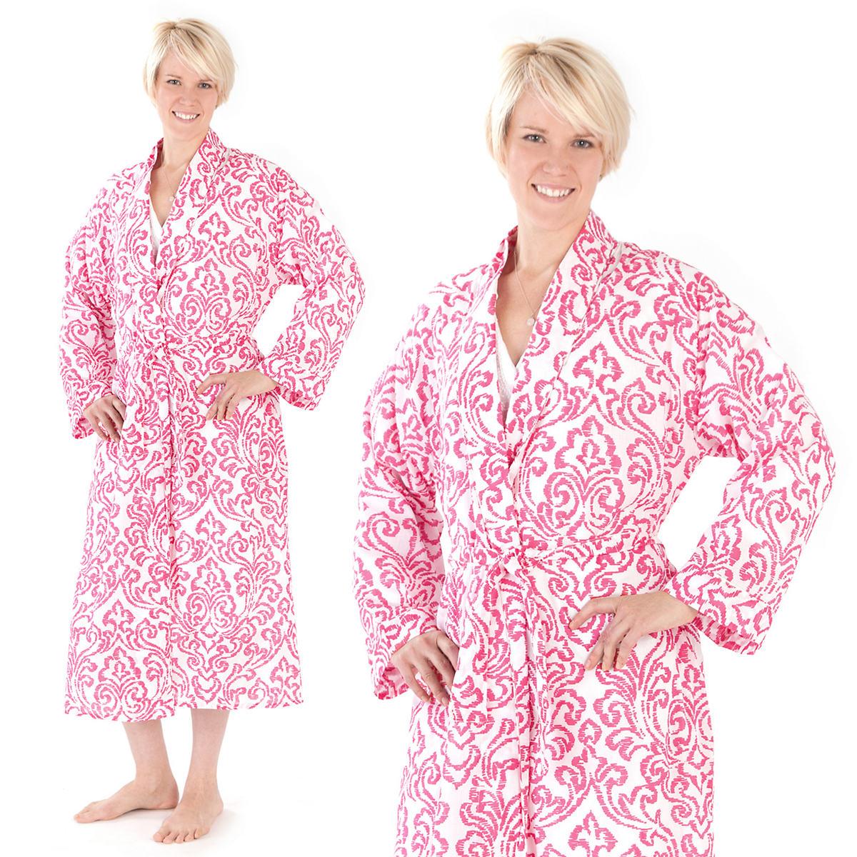 Brushstroke Damask Fuchsia Robe