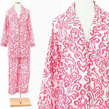 Brushstroke Damask Fuchsia Shirt Tail Pajama