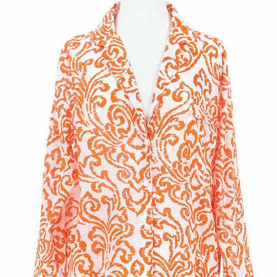 Brushstroke Damask Tangerine Shirt Tail Pajama
