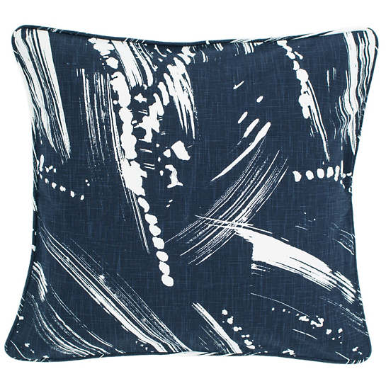 Brushstroke Indigo/White Decorative Pillow