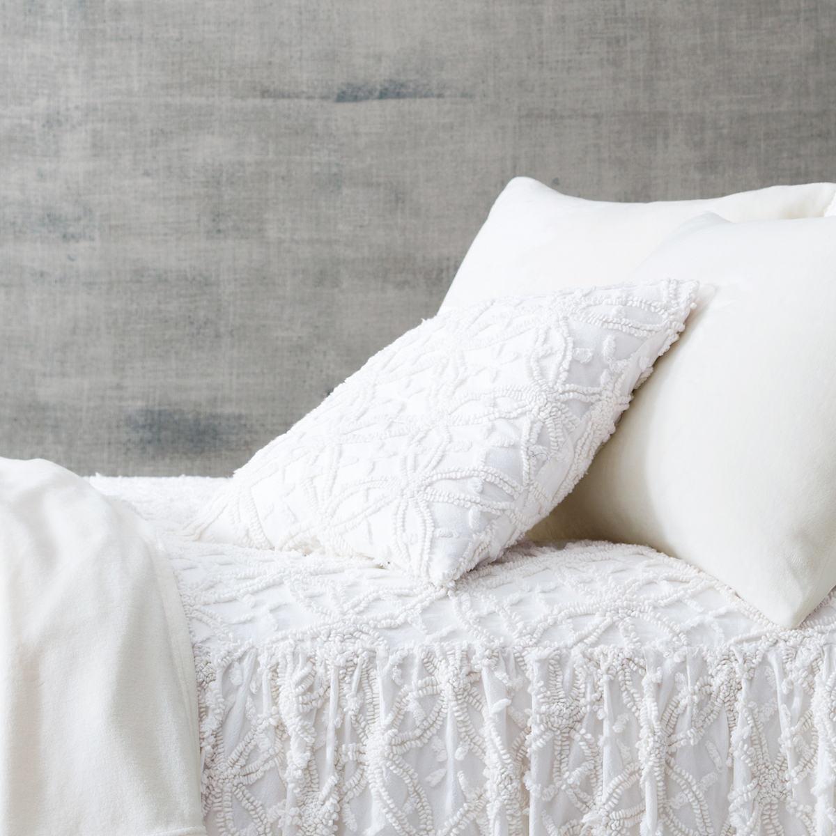 Candlewick Dove White Decorative Pillows