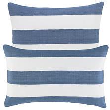 Catamaran Stripe Denim/White Indoor/Outdoor Decorative Pillow