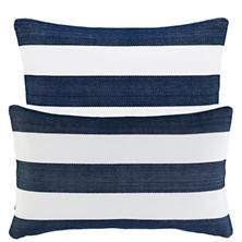 Catamaran Stripe Navy/White Indoor/Outdoor Decorative Pillow