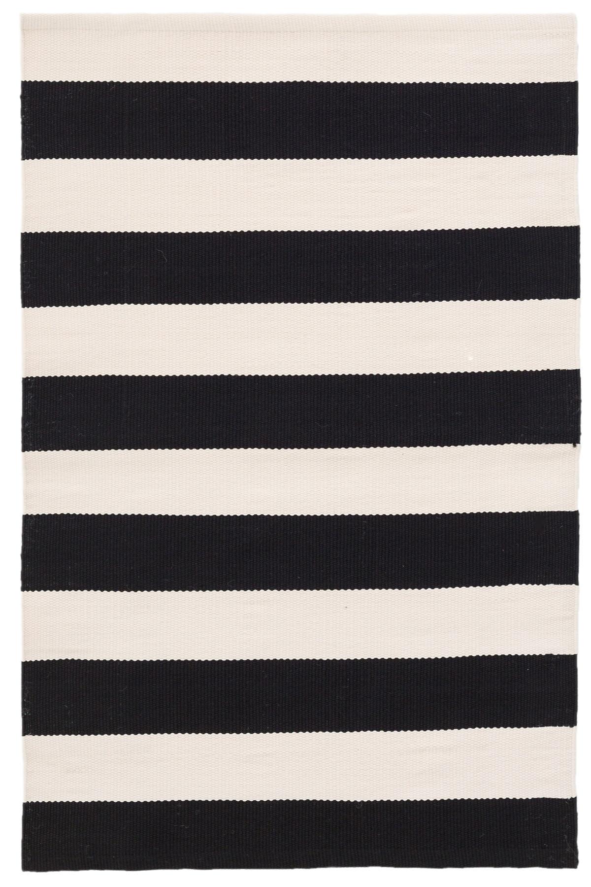Catamaran Stripe Black/Ivory Indoor/Outdoor Rug