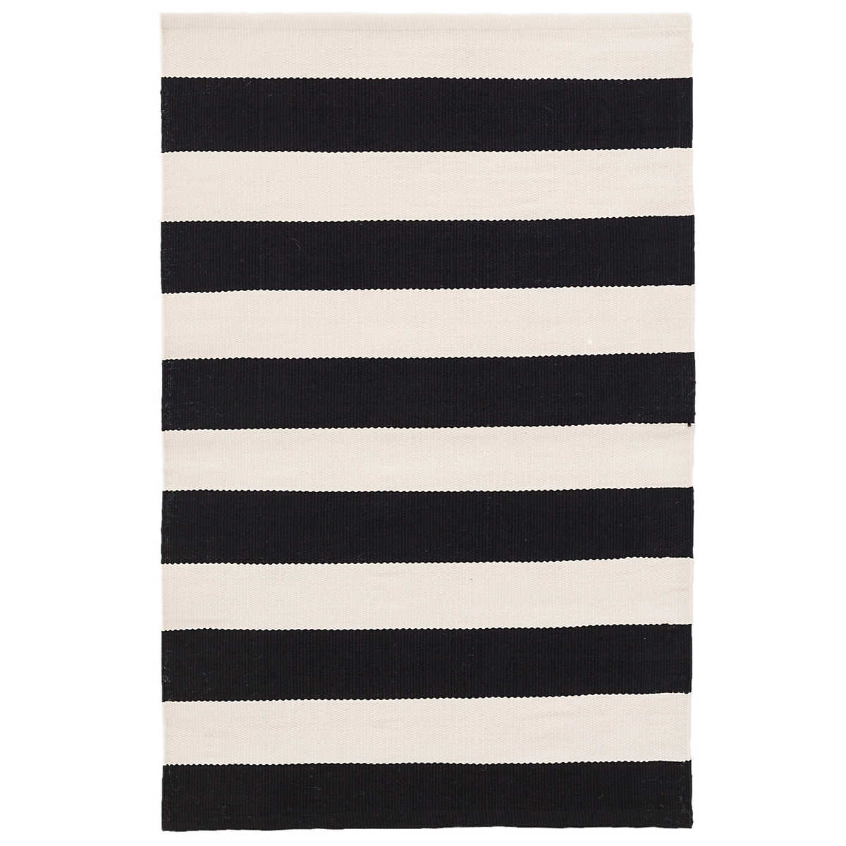 Catamaran Stripe Black Ivory Indoor Outdoor Rug Dash