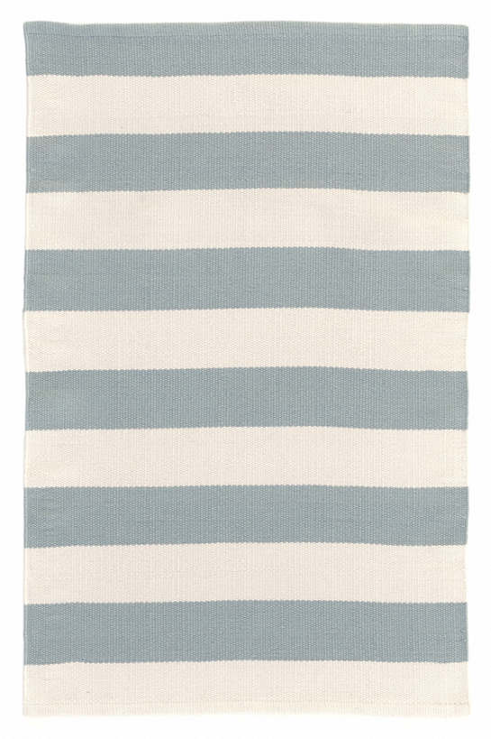 Catamaran Stripe Light Blue/Ivory Indoor/Outdoor Rug | Dash & Albert