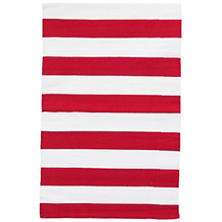 Catamaran Stripe Red/White Indoor/Outdoor Rug