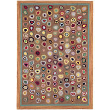 Cat's Paw Brown Wool Micro Hooked Rug