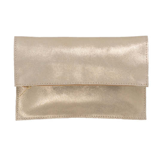 Champagne Metallic Leather Clutch