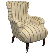 Glendale Stripe Navy/Brown Charleston Chair
