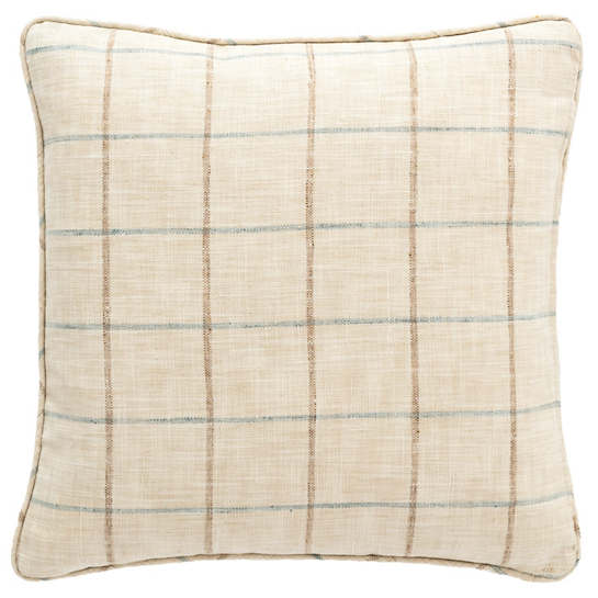 Chatham Tattersall Light Blue/Natural Indoor/Outdoor Decorative Pillow