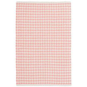 checks coral woven cotton rug