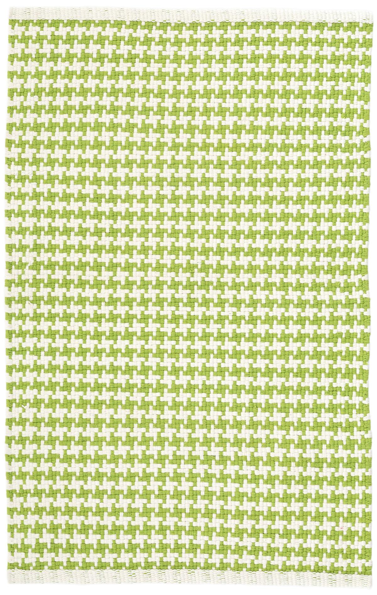 Checks Green Woven Cotton Rug