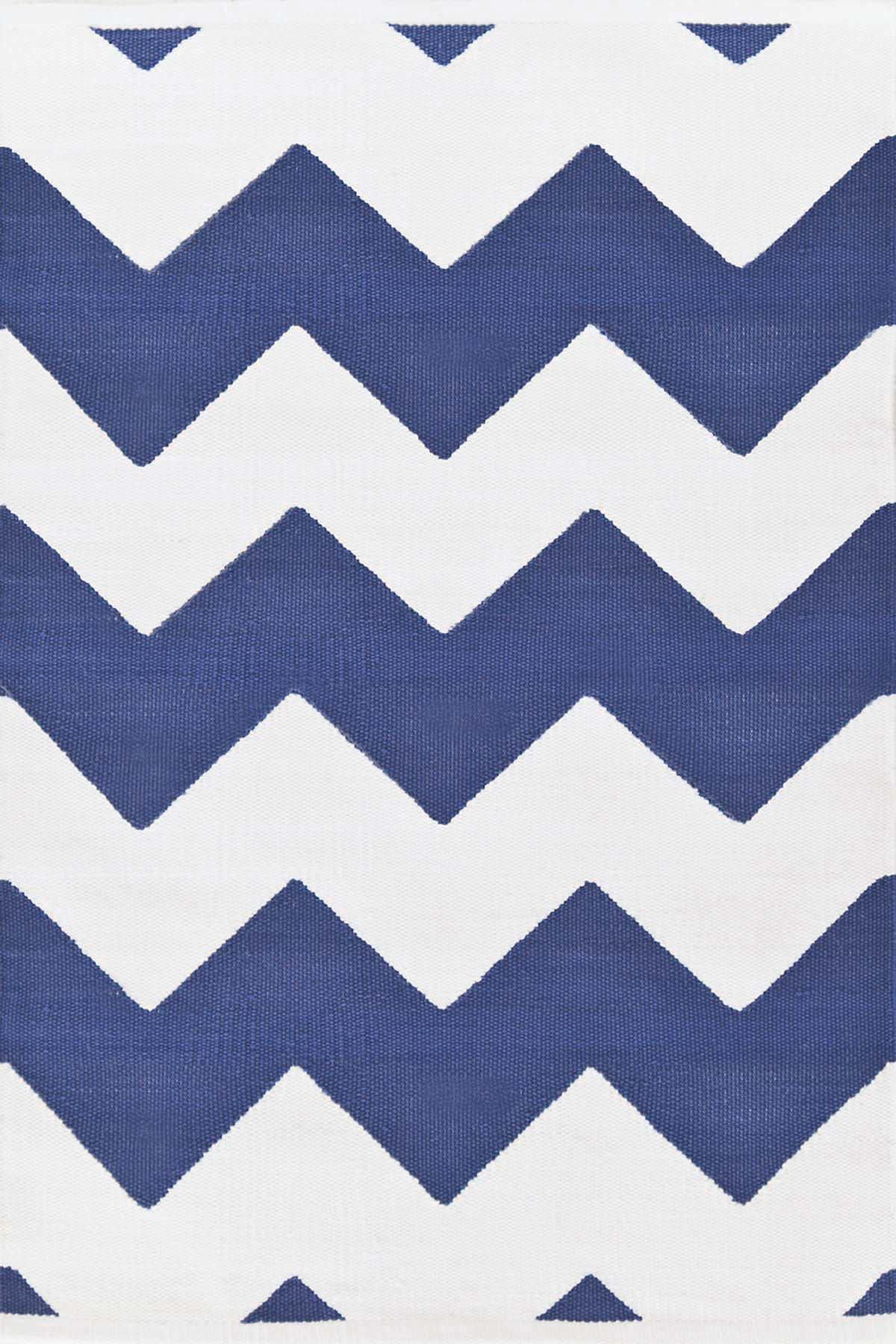 Chevron Denim/White Indoor/Outdoor Rug | The Outlet
