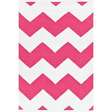 Chevron Fuchsia/White Indoor/Outdoor Rug