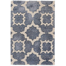 China Blue Tufted Wool/Viscose Rug