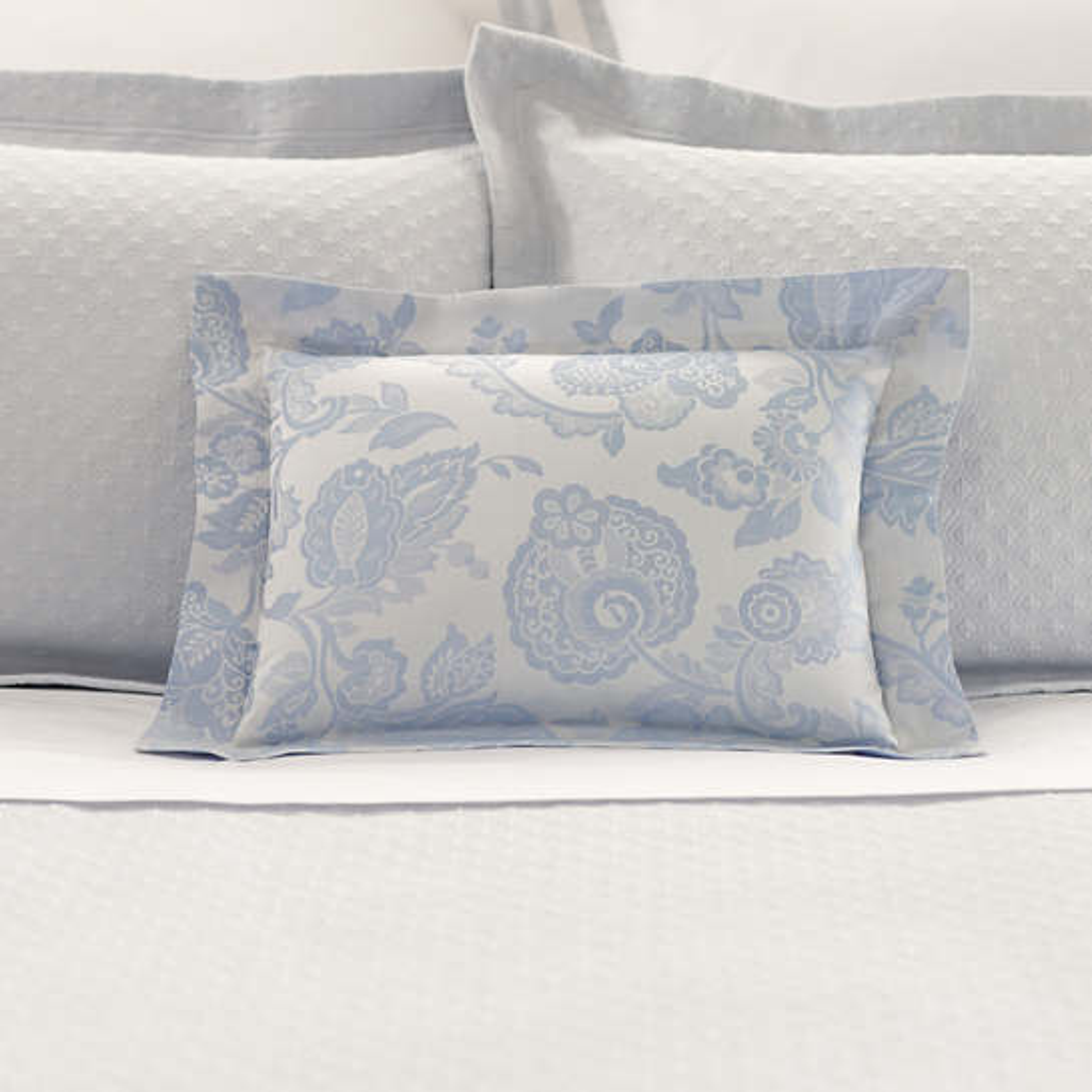 Chinois Damask Delphinium Decorative Pillow Luxe