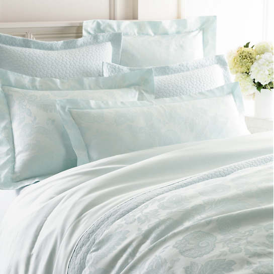 Chinois Damask Pearl Blue Duvet Cover